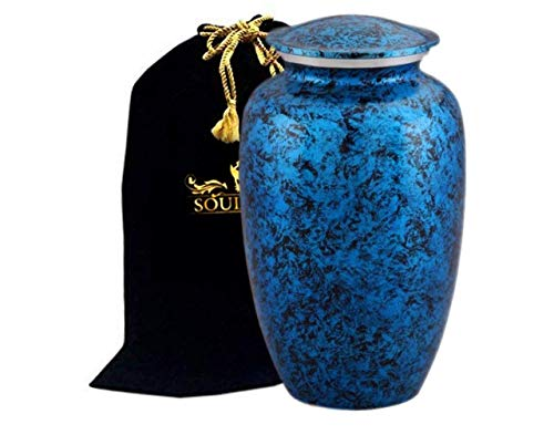 Funeral Urn by SoulUrns - Cremation Urn for Human Ashes - Forest Blue Funeral Urn with Velvet Bag - Included 2 Keepsake Urn Memorial Ashes Urns