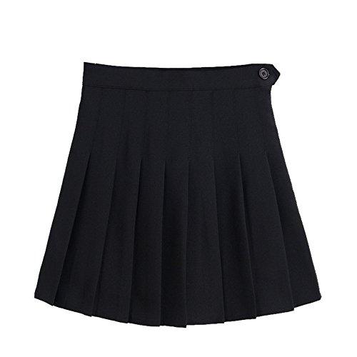 Shujin Femme Mini Jupe Pliss Gothique Jupe Patineuse vase Taille Haute Uniforme Scolaire Noir