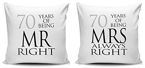 Set of Mr Right Mrs Always Right Anniversary 70th Platinum Throw Pillows for Bed Canvas 18 x 18 Sofa Pillow Cover
