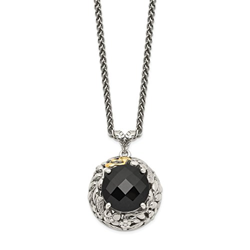 925 Sterling Silver 14k Black Onyx Chain Necklace Pendant Charm Gemstone Fine Jewelry For Women Gift Set -