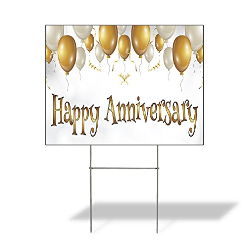 Happy Anniversary #1 Outdoor Lawn Decoration Corrugated Plastic Yard Sign - 18inx24in, Free Stakes by Sign Destination