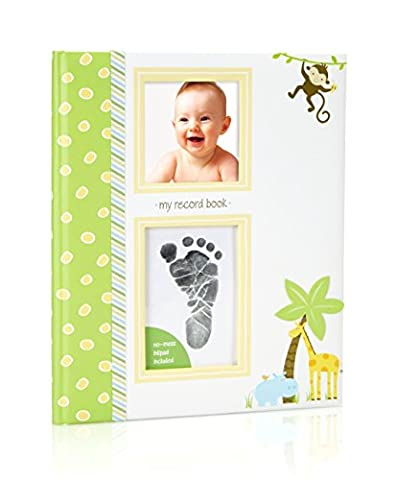 Lil' Peach Safari Baby Memory Book with an Included Clean-Touch Ink Pad to Create Baby's Handprint or (Imprint Baby)