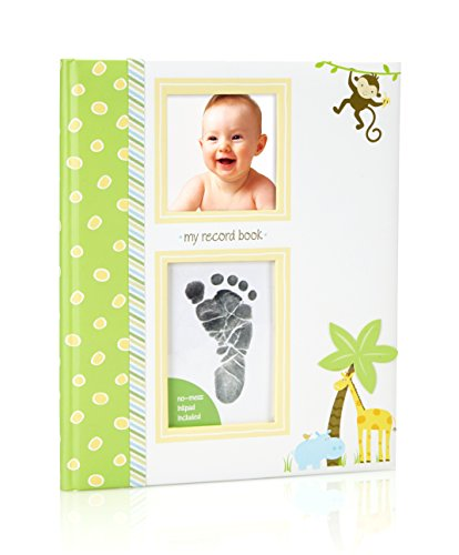 Lil' Peach Safari Baby Memory Book with an Included Clean-Touch Ink Pad to Create Baby's Handprint or Footprint