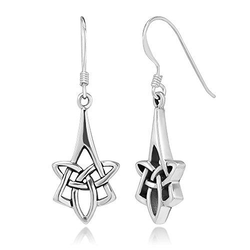 (925 Sterling Silver Long Drop Trinity Celtic Knot Symbol Irish Jewelry Dangle Earrings, 35 mm)
