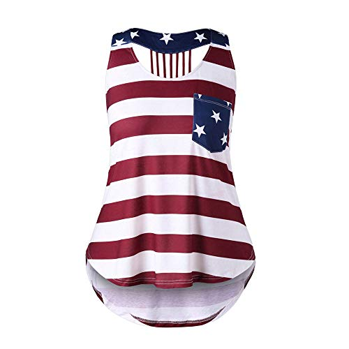Zlolia Women's American Flag Print with Pocket Vest Sleeveless Long Patchwork Tank Tops July 4Th Independence Day Blouses
