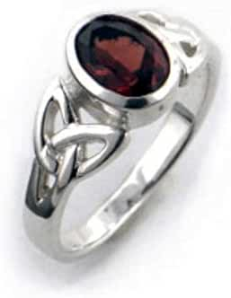 Sterling Silver Celtic Knot and Genuine Red Garnet Ring(Sizes 4,5,6,7,8,9,10,11,12)