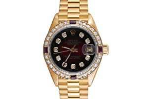 Rolex Ladies Yellow Gold President Red Vignette Diamond Dial