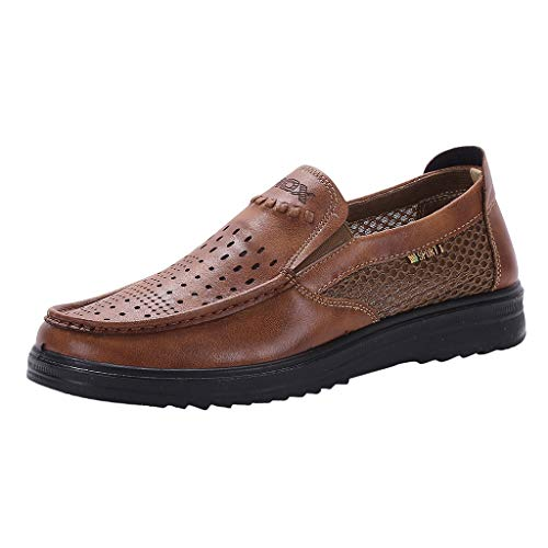 iHPH7 Boat Shoe Authentic Original Mesh Shoes Loose and Comfortable Dad Shoes Business Thick Casual Shoes Men (47,Brown)