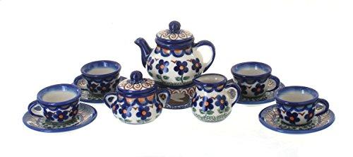 Polish Pottery Aztec Flower Miniature Tea Set (Polish Pottery Miniature Tea Set)