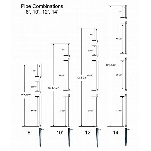 In-Ground POLE for Barrier Netting Installations: 14' Tall (1 pole), Steel, w/Ground-Sleeve