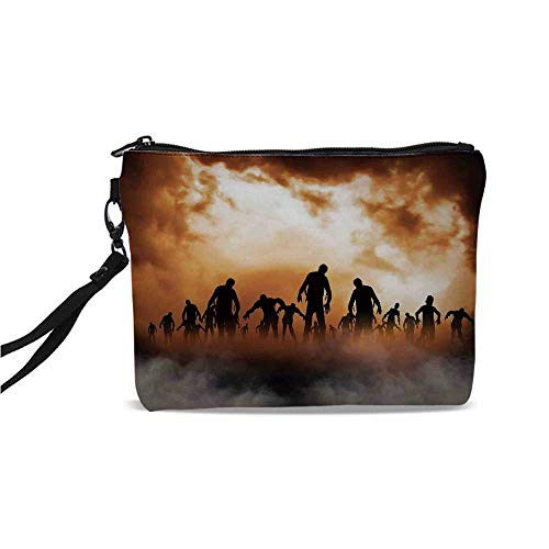 Halloween Decorations Simple Cosmetic Bag,Zombies Dead Men Body in the Doom Mist at Night Sky Haunted Decor for Women,9