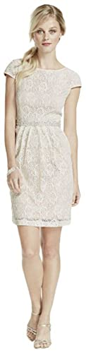 Short Lace Cap Sleeve Dress with Side Pockets Style 3524FE5C