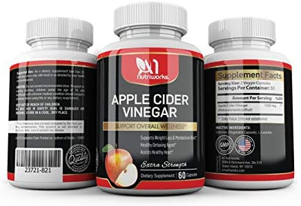 Apple Cider Vinegar Supplement 60 Capsules - Extra Strength 1300mg - ACV Pills for Digestion, Detox & Immune Support - All Natural Apple Cider Cleanse & Immunity Booster 1