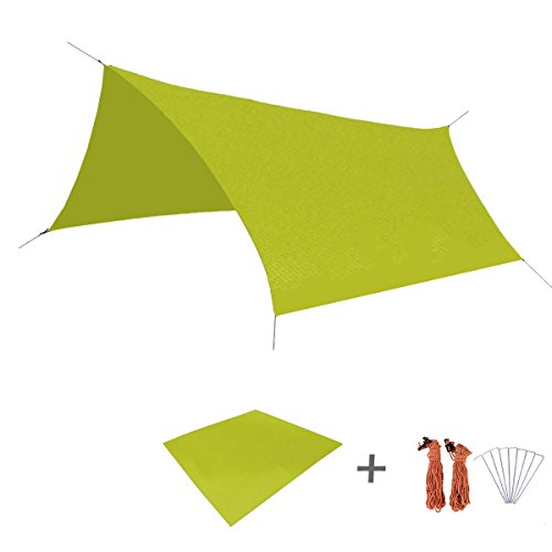 TRIWONDER Waterproof Hammock Rain Fly Tent Tarp Footprint Camping Shelter Ground Cloth Sunshade Mat for Outdoor Hiking Beach Picnic (Green, L+Accessories)