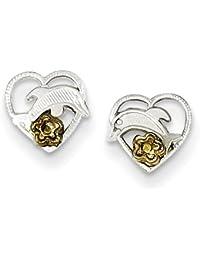 Sterling Silver Dolphin / Heart Earrings