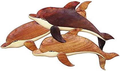 Wood Wall Hanging Three Dolphins Medium