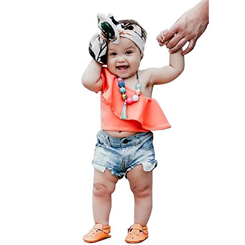 Jean 2 Piece Pants Outfit - Chinatera Little Girls Summer Outfits Toddler Girl Two Pieces Tank Tops + Denim Shorts (Orange + Shorts, 2-3T)