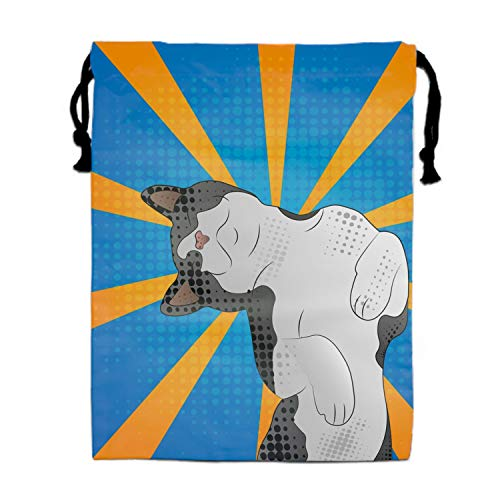 A Happy Cat In Pop Art Style Funny Drawstring Portable Storage Shoe Outdoor Travel Bag Dustproof Gift -