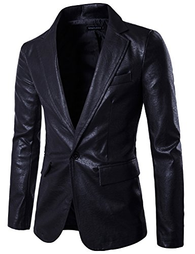 Black Leather Blazer Mens - 4