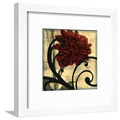ArtEdge Dahlias Scrolls III Jennifer Goldberger, White Frame