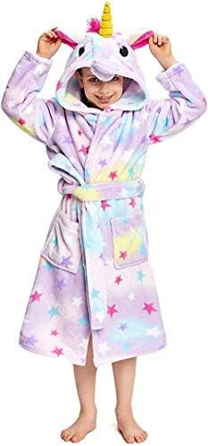 smilecstar Weiche Einhorn Kapuze Bademantel Nachtwäsche - Einhorn Geschenke für Mädchen-Sternenklare Nachtwäsche-A31_6-7 Jahre