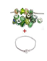 """European Style Bracelet with Ten(10) Pack of Assorted Green Glass Lampwork, Murano Glass Beads for European Style Snake Chain Bracelet, 8"""" Bracelet"""