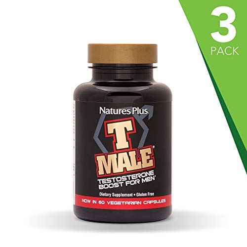 NaturesPlus T Male 3 Pack - 60 Vegetarian Capsules - Natural Testosterone Boost for Men - Promotes Muscle Gain, Stamina & Sexual Health - Mood Enhancer - Gluten-Free - 90 Total Servings