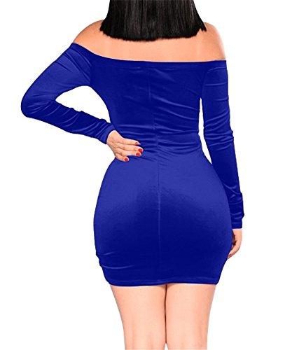 Sorrica Sexy Bandage Plis Épaule Mince Au Large Des Femmes Mini Robe Moulante Club Bleu Royal