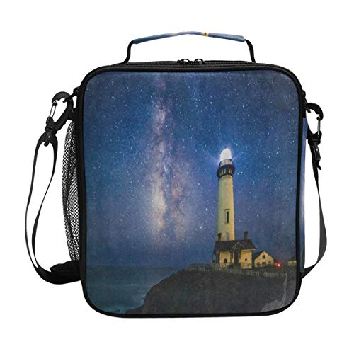 Starry Night Milky Way Lighthouse Lunch Bag Womens Insulated Lunch Tote Containers Zipper Square Lunch Box for Kids Men