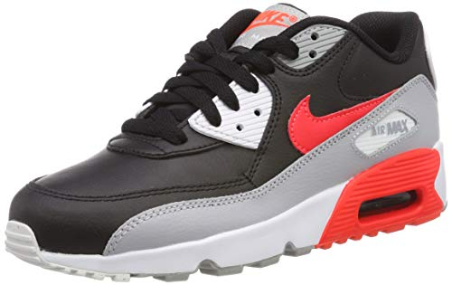 Nike Youth Air Max 90 LTR Leather Wolf Grey Bright Crimson Black Trainers 5 US (Nike Air Max 90 Leather Black Grey)