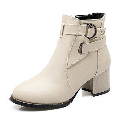 UK4 Botines EU36 PU US6 Comodidad redondo hebilla punta Invierno mujer CN36 con Novedad para RTRY sintético fiesta redonda y Cuero Zapatos tacón de para Otoño Botines Botines y XPF4wqnS