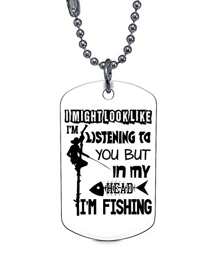 COLOSTORE I Go Fishing Necklaces, In My Head I'm Fishing Dog Tag (Dog Tag Necklaces - (White Dog Head Necklace)