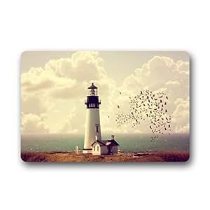"23.6""x 15.7"" Non-Slip Lighthouse Beside Sea Rubber Doormat"