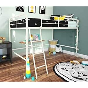Bunk Beds for Kids Toddler Twin Junior Metal Loft White Your Child Will Sleep in Style and Great Solution for Your Space Saving Needs by HomeTeks