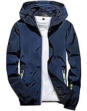Uqiangy Men's Casual Lightweight Solid Outdoor Waterproof Big and Tall Sizes Zip Rain Jacket