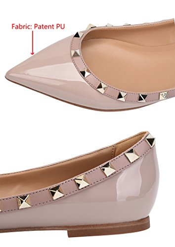 Rivets Toe Women's Shoes Patant On Classic Comfort Pu Beige Pointy CAMSSOO Pumps Dress Flats Slip RxSw1EZZWq