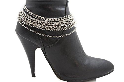 TFJ Women Western Fashion Jewelry Boot Chains Bracelet Silver Metal Chains Shoe Charm from Trendy Fashion Jewelry