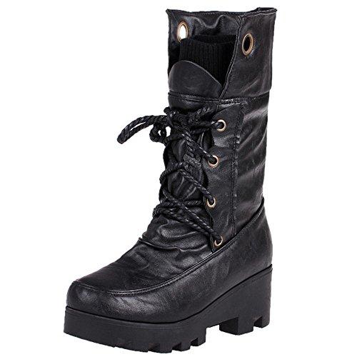 COOLCEPT Damen Retro Halbschaft Stiefel Mit Absatz Warm Inner 361 Black-LH