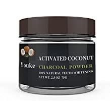 Youke Activated Coconut Charcoal Powder, 100% Natural Teeth Whitening, 2.5OZ/ 75G