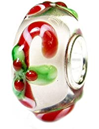 Sterling Silver Candy Stick Christmas European Style Glass Bead Charm
