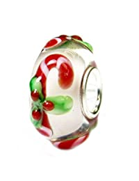 Sterling Silver Candy Cane Stick Christmas Red Green Gift Glass Holiday Bead For European Chamilia Biagi Troll Pandora Charm Bracelets