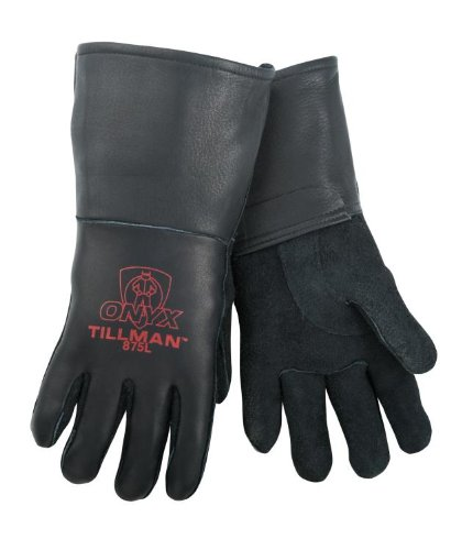 Tillman 875 Onyx All Black Premium Top Grain Elkskin Welding Gloves, M by Tillman