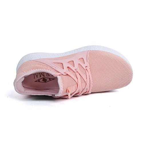 Feetmat Womens Sneakers Ultra leichte atmungsaktive Mesh-athletische Laufschuhe Plus Größe Rosa