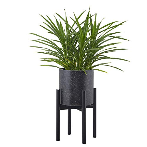FaithLand Metal Plant Stand, Mid Century Planter Stand, Weather Resistant Potted Plant Holder, Black, Hold Up to 10 Inch Planter(Planter Not Included)