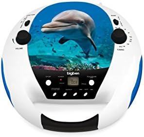 Bigben Interactive Lecteur CD Portable (Dauphin) Lecteurs de CD (FM, Lecteur CD Portable, Multicolore, Répéter Tous, Répéter Un, LED, Rotatif)