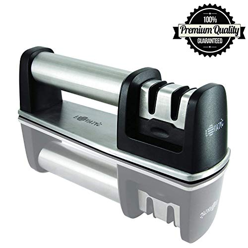 LOVATIC Kitchen Stainless Knife Sharpener - 2 Stage Diamond Coated Wheel System Sharpening with Ceramic Rod - Ideal Kitchen Assist for Dull Steel, Chefs and Pocket Knives - Safe & Easy to Use