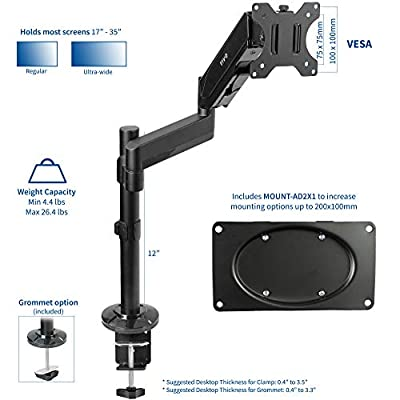 VIVO Black Heavy Duty Articulating Single Pneumatic Spring Arm Desk Mount Stand | Fits 1 Standard to UltraWide Monitor Screen up to 35 inches with Maximum VESA 200x100 (STAND-V101H)