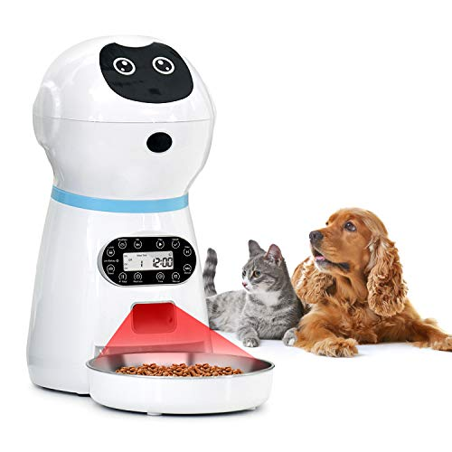 NautyPaws Automatic Cat Food Dispenser, 118oz/3.5L Stainless Steel Pet Food Feeder Timer Programmable Dog Feeder with Voice Recorder & Speaker, Portion Control Up to 4 Cups Meal/Day