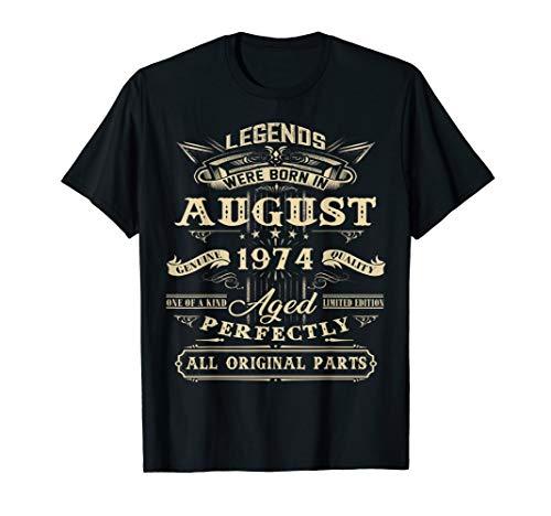Legends Born In August 1974 Vintage 45 Birthday Shirt Gift