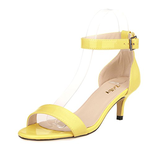 Yellow Sandals Dress (ZriEy Women Sexy Open Toe Ankle Straps Low Heel Sandals Yellow Size 9.5)